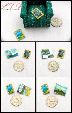 NATIONAL GEOGRAPHIC MAGAZINES 2 Dollhouse Miniature Half Inch Scale