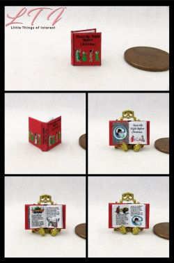TWAS THE NIGHT BEFORE CHRISTMAS Dollhouse Miniature Half Inch Scale Illustrated Book