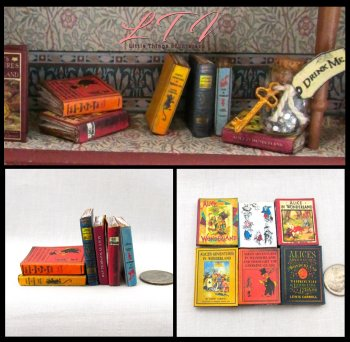 ALICE IN WONDERLAND Set of 6 Prop Faux Books in Miniature Playscale