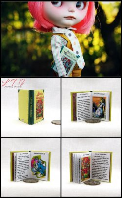 ALICE IN WONDERLAND by Lewis Carroll Miniature Playscale Readable Illustrated Book