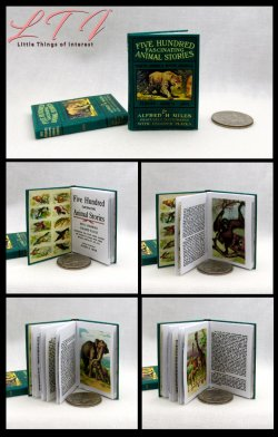FIVE HUNDRED FASCINATING ANIMAL STORIES Illustrated Readable Miniature Scale Book Natural History Book