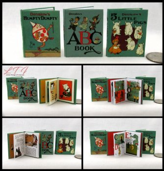 DENSLOW'S CHILDREN'S BOOK SET 3 Miniature Playscale Readable Illustrated Books Humpty Dumpty, Abc, 5 Little Pigs