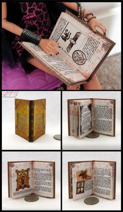 ENCANTUS MAGICAL SPELL BOOK Miniature Playscale Readable Illustrated Book