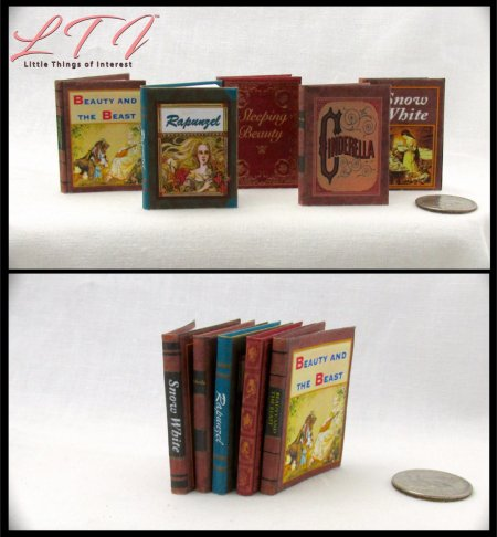 FAIRY PRINCESS BOOKS SET 5 Miniature Playscale Readable Illustrated Book Beauty Beast Cinderella Rapunzel Sleeping Beauty Snow White