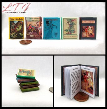 CLASSIC FAIRY TALES SET 5 Miniature Playscale Readable Illustrated Books Frog Prince Jack Beanstalk Elves Shoemaker