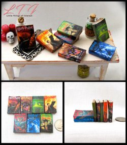POPULAR BOY WIZARD POTTER SERIES Set 7 Prop Books in Miniature Playscale