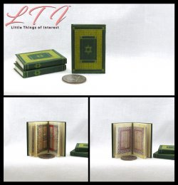 ILLUMINATED HEBREW BIBLE Book Miniature Playscale Readable Illuminated Book