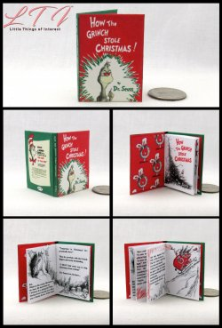 HOW THE GRINCH STOLE CHRISTMAS Miniature Playscale Readable Illustrated Book Dr. Seuss