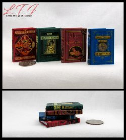 JULES VERN BOOKS SET 4 Miniature Playscale Readable Illustrated Books Journey Center Earth World Eighty Day Twenty Thousand Leagues Under Sea