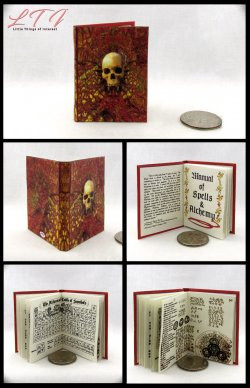 MANUAL OF SPELLS AND ALCHEMY Miniature Playscale Readable Illustrated Book