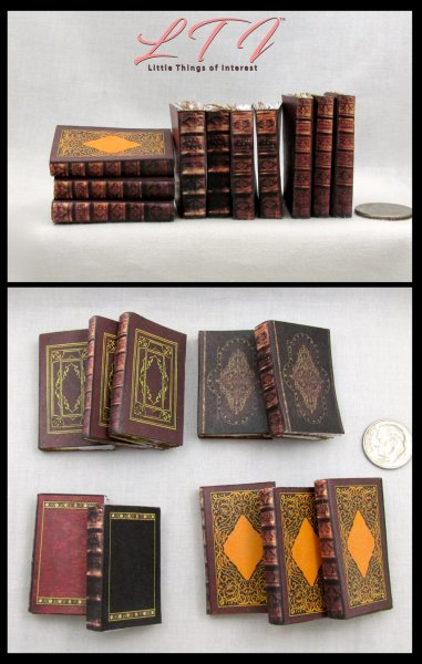 OLD LIBRARY BOOKS Set of 10 Prop Books in Miniature Playscale