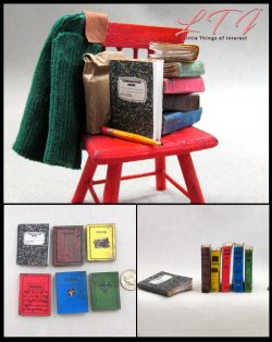 SCHOOL BOOKS Set of 6 Prop Books in Miniature Playscale