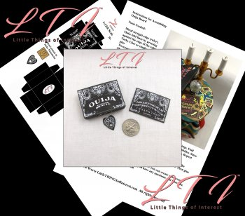 OUIJA BOARD Kit Black Box and Planchette PDF and Tutorial in Miniature One Inch Scale