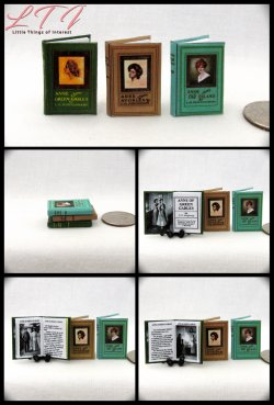 ANNE OF GREEN GABLES SET 3 Miniature One Inch Scale Readable Illustrated Books Anne of the Island Anne of Avonlea