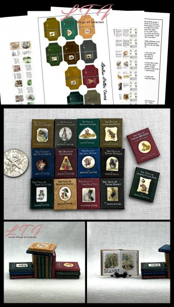 BEATRIX POTTR Books Set of 14 Download Pdf Book and Construction Tutorial for Miniature One Inch Scale Books