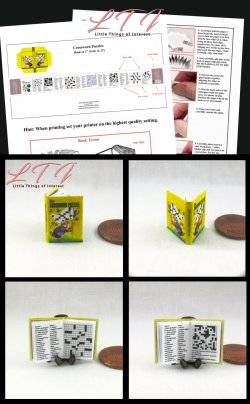 CROSSWORD PUZZLES Download Pdf Book and Construction Tutorial for a Miniature One Inch Scale Book