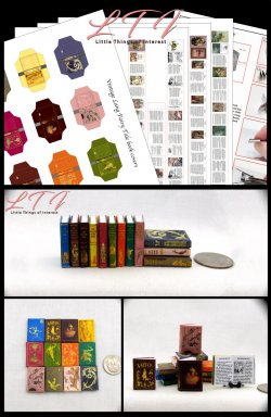 VINTAGE LANG FAIRY TALES BOOKS Set of 12 Prop Books Download Pdf and Construction Tutorial for Miniature One Inch Scale Books