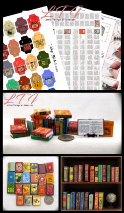 VINTAGE STYLE BOOKS Set of 21 Prop Books Download Pdf and Construction Tutorial for Miniature One Inch Scale Books