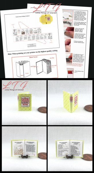 FANNIE FARMER Cookbook Download Pdf Book and Construction Tutorial for a Miniature One Inch Scale Book