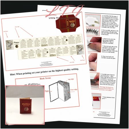 MALEFICO MAGIC SPELL BOOK Download Pdf Book and Construction Tutorial for a Miniature One Inch Scale Book