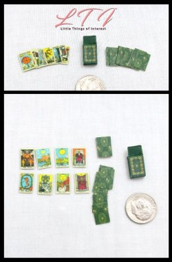 VINTAGE STYLE TAROT CARDS Kit 22 Major Arcana Tarot Deck And Box Tutorial Miniature One Inch Scale