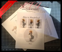 ALICE IN WONDERLAND Miniature One Inch Scale Doll PDF Instructions Patterns Clothes Download (Intermediate)