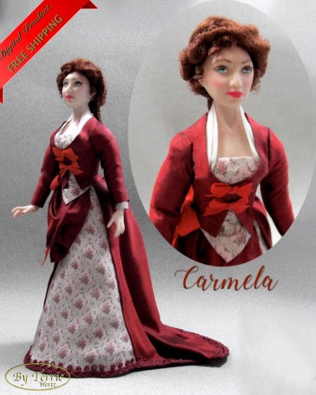CARMELA Miniature One Inch Scale Lady Doll PDF Tutorials Patterns Clothes and Hair Download 1880 Bustle Dress House Worth (Experienced)