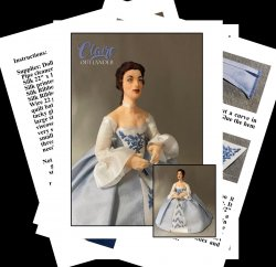 CLAIRE FRASER Miniature One Inch Scale Lady Doll PDF Tutorials Patterns Clothes and Hair Download (Intermediate)