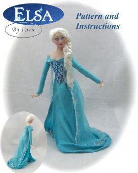 ELSA Dollhouse Doll Pattern Instructions PDF Dressing Miniature Scale Instant Download Frozen (Beginner) Magic Disney Princess