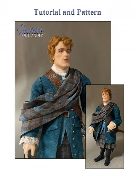 JAMIE FRASER Outlander Miniature One Inch Scale Man Doll PDF Tutorials Patterns Clothes and Hair Download (Intermediate)