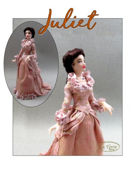 JULIET Miniature One Inch Scale Lady Doll PDF Tutorials Patterns Clothes and Hair Download 1870 Victorian (Intermediate)