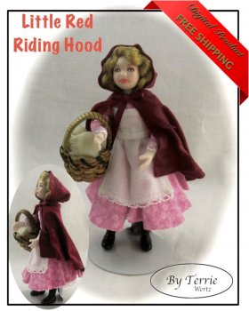 Dollhouse Doll Girl LITTLE RED RIDING HOOD Doll Pattern Instructions PDF Dressing Miniature Scale Instant Download (Beginner)