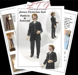 JAMES VICTORIAN Miniature One Inch Scale Man Doll PDF Tutorials Patterns Clothes and Hair Download (Experienced)